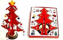 Lanlan DIY Weihnachtsdekoration Desktop Dekoration Mini Holz Weihnachtsbaum, ro