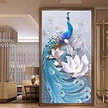 LanLan Große Größe 5D Diamant Pfau Malerei