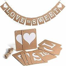 Lanlan hängende Dekoration Papier Wimpelkette Girlande Party mit String Love is sweet Vintage Hochzeit Banner