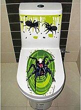 Lanlan Halloween gruselige Badezimmer WC-Sitz Deckel und Spülkasten Aufkleber Closestool Abdeckung Party Dekoration