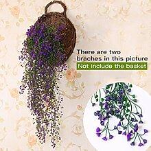 Lanlan Hochzeit Dekoration Künstliche Blumen Vine Aufhängen Girlande Pflanze Fake Weeping Willow Wand Home Garden Decor Floral
