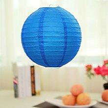 Lanlan Hochzeit Party Dekoration Japanisches/Chinesisches Home Laternen-Lampe, rund Papier Shades, blau