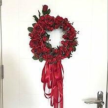 Lanlan Hochzeit Party Home Dekoration Kranz Künstliche Girlande Tür Sturz Trim Decor Simulation Rose Floral Tür