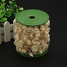 Lanlan Hochzeit Party Urlaub Elfenbeinfarben Dekoration Ribbon Roses + Nachahmung Perlen String 30M