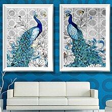 Lanlan Home Dekoration blau Pfau Bilder Diamant Mosaik Naht Kreuzstich Kits Leinwand Gemälde 2Stück 40* 50cm 5D Diamant Stickerei DIY
