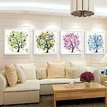 Lanlan Kreuzstich Diamant Stickdecken 4Stück-Home Dekoration 4Jahreszeiten DIY 5D Diamant Malen Mosaik rund Kristall Blume Baum Muster