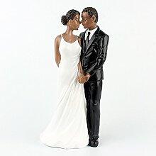 Lanlan Kunstharz African American Hochzeit Figur Dekoration 16cm Hochzeit Kuchen Topper