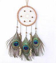 Lanlan mit Pfau Federn Traumfänger Zirkular Net die Schlafzimmer Ornaments (die alten Bronze)