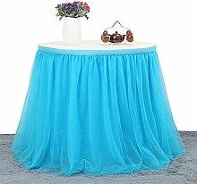 Lanlan modernen Stil Tüll Rock, 4-lagige Tischdecke mit Chiffon Futter, Hochzeit Tisch Dekoration Geschirr für Geburtstag Baby Dusche Party, blau