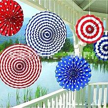 Lanlan Party Decor Decor Hochzeit Decor Wandbehang Dekoration Blumen Papier zum Aufhängen Fans Stars & Stripes zum Aufhängen Fan 6Papier Fan für Baby-Dusche Geburtstag rot/weiß/blau 33x 27,9cm