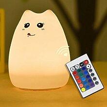 LanLan USB Lade Nachtlicht Dekoration Geschenk Cartoon Katze Fernbedienung Silikon Bunte LED Patting Lampe