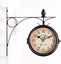 LanLan Wanduhr Haushalt Double Sided Bracket Clock