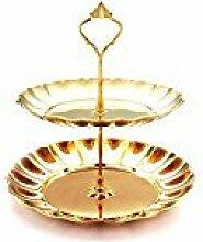 Lanlan Zwei Schicht Kuchen Tablett Edelstahl Cupcake-Ständer rund Hochzeit Geburtstag Kuchen, Display Tower (Gold)