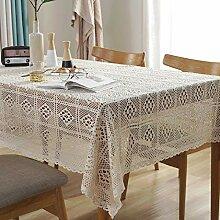 Lanqinglv Beige Spitze Tischdecke 85x85cm Vintage