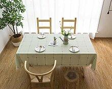 Lanqinglv Quaste Tischdecke 140x240 Grün Kariert