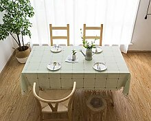 Lanqinglv Quaste Tischdecke 90x90 Grün Kariert