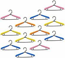 Lantelme 6736 Set 12 Stück Mitwachsende Kinder - Baby Kleiderbügel - ausziehbare Bügel aus Kunststoff Farbig bunt - verstellbar