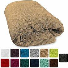 Lanudo® XXL Luxus Sauna-Handtuch 600g/m² Pure Line 80x200 cm mit Bordüre.100% feinste Frottier Baumwolle in höchster Qualität, Saunatuch, Strandtuch, Farbe: Beige/Sand