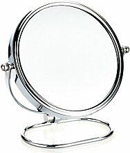 LANXINYU Kosmetikspiegel Moderner Schminkspiegel Doppelseitiger Tischspiegel Runder Drehspiegel (Flacher Spiegel + Lupe) (Größe : 17cm)