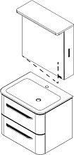 Lanzet EKKO Badmöbel Set - Variante Links - 62 cm - Spiegelschrank, Waschtisch, Waschtischunterschrank mit Griffen- B: 620 H: 2000 T: 480