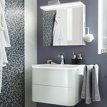 Lanzet EKKO Badmöbel Set - Variante Links - 62 cm - Spiegelschrank, Waschtisch, Waschtischunterschrank Grifflos- B: 620 H: 2000 T: 480
