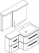 Lanzet EKKO Badmöbel Set - Variante Rechts - 102 cm - Spiegelschrank, Waschtisch, Waschtischunterschrank Grifflos- B: 1020 H: 2000 T: 480