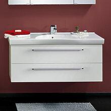 Lanzet K3 Waschtisch mit Unterschrank - 122 cm, Waschtischunterschrank mit 2 Auszügen und Keramik-Waschtisch 520 mm tief- B: 1220 H: 550 T: 520