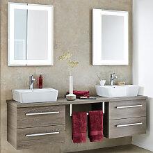 Lanzet Q4 FIT Badmöbel Set - 180 cm, 2 Spiegel, Aufsatz-Waschtisch, Waschtischunterschrank mit 2 Auszügen- B: 1800 H: 2000 T: 485