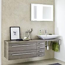 Lanzet Q4 FIT Badmöbel Set - 190 cm, 2 Spiegel, Aufsatz-Waschtisch, Waschtischunterschrank mit 4 Auszüge- B: 1900 H: 2000 T: 485