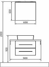 Lanzet Q4 FIT Badmöbel Set - 90 cm, Spiegelschrank Variante Rechts, Waschtisch und Waschtischunterschrank- B: 900 H: 2000 T: 485