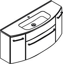 Lanzet S 2.1 Waschtisch mit Unterschrank - 120 cm, mit Glas-Waschtisch und Waschtischunterschrank mit 1 Auszug- B: 1200 H: 642 T: 455