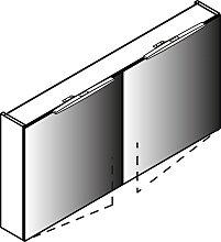 Lanzet Spiegel Spiegelschrank - 120 cm, mit 2 Türen,doppelt verspiegelt, 2 LED Leuchten- B: 1200 H: 600 T: 136