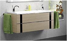Lanzet VEDRO Waschtisch mit Unterschrank mit 2 Auszügen und Mineralguss Doppel WT- B: 1200 H: 510 T: 500
