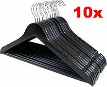 LANZZAS 10 Stück Holz Kleiderbügel in schwarz,