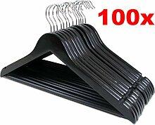 LANZZAS 100 Stück Holz Kleiderbügel in schwarz,