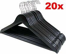 LANZZAS 20 Stück Holz Kleiderbügel in schwarz,