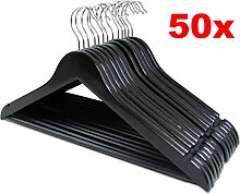 LANZZAS 50 Stück Holz Kleiderbügel in schwarz,