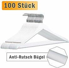 LANZZAS Kleiderbügel aus Ahornholz in Weiß, 100