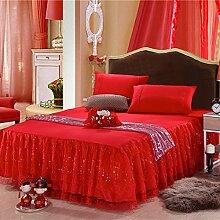 LAOSXNZHE Bettrock Tagesdecke Spitze Bett Sets