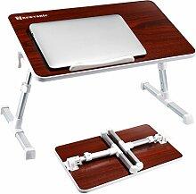 Laptop Bett Tablett NNEWVANTE Multifunktionstisch Tragbar Höhenverstellbar und Winkelverstellbar Laptoptisch Laptopständer Betttisch NoteBooktisch Bücherständer in Nussbaumoptik für Sofa, Bett, Terras