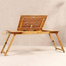 Laptoptisch Verstellbarer Laptop-Stand-Bett-Tabelle, Faltbares Sofa-Frühstücks-Behälter, Qualitäts-Notizbuch-Standplatz, USB-Ventilator-faltbares Frühstück, Das Bett-Behälter Dient, Spiele Auf Bett-Tabelle Mit Fach Spielen (Bambusmaterial / Tabellen-Beine Justierbare Höhe) ( größe : J )