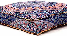 Large Indian Meditation Floor Pillow Cover 35 X 35 Inch Elephant Mandala Ottoman Cushion Dog Bed Outdoor Sofa Day Bed Kids Teen Floor Pillow by HandicraftsPalace
