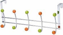 LAROOM 12011–Kleiderbügel Tür 5und 5Haken Metall, Grün, Orange