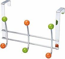 LAROOM 12012–Kleiderbügel Tür 3und 3Haken Metall, Grün, Orange