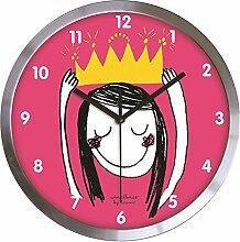 LAROOM 12305–Wanduhr Prinzessin Edelstahl satiniert, Rosa