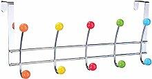 LAROOM 13189–Kleiderbügel Tür 5und 5Haken Metall, Farbe mehrfarbig
