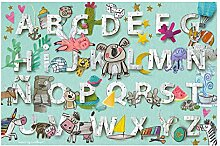 Laroom Teppich Bollato Kinder Design ABC, Vinyl
