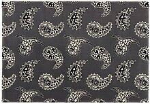 Lars Contzen Teppich Paisley 996 grau schwarz 80 x