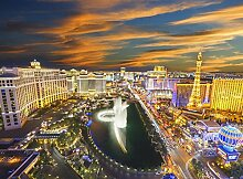 Las Vegas Lights Foto-Tapete 4-teilig - Fototapete Wallpaper 232x315cm. Beigelegt sind eine Packung Kleber und eine Klebeanleitung.
