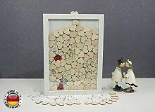 Laserano 3D - Bilderrahmen - Eine tolle und individuelle Geschenkidee zur Hochzeit! Gästebuch Hochzeit Geschenk - Edler Bilderrahmen +++ HIT 2018 +++ (Variante 1 - + 70 Herzen, Aufhängung)